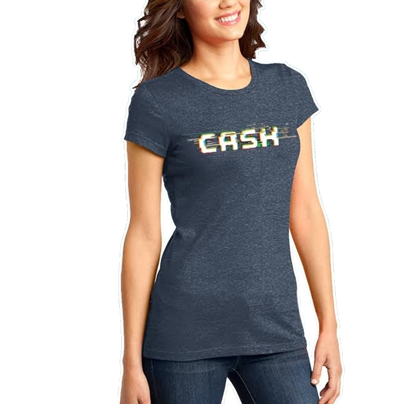 Cash Campbell Heather Navy Logo Tee- PRESALE