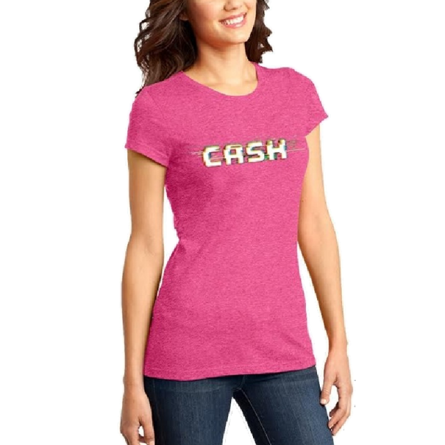 Cash Campbell Fucshia Frost Logo Tee