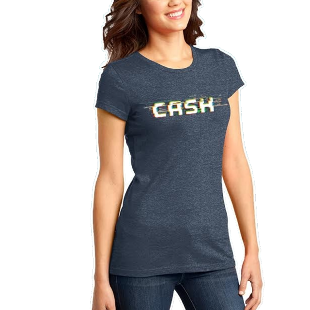 Cash Campbell Heather Navy Logo Tee